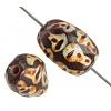 Glass Bead Painted Fancy Twist 15x9mm Black/Multi